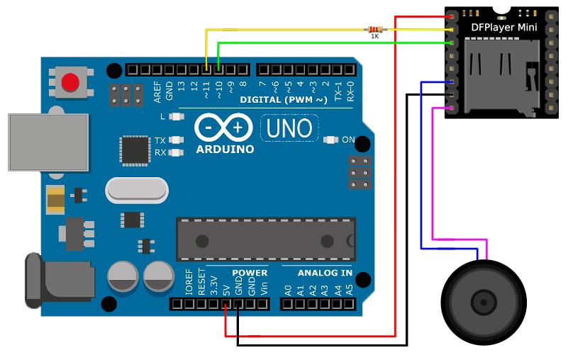 Схема подключения DFPlayer Mini к Arduino UNO